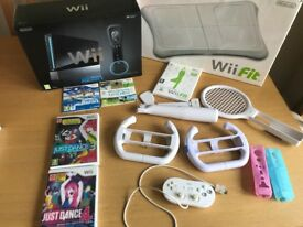 Nintendo Wii (Black) with Games and Accessories