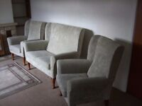 Immaculate Winged Three Piece Suite in Pale Green Material, 2 Seater Sofa and 2 Arm Chairs