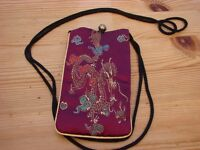 Chinese Dragon silk purse with long cord to enable you to wear around your neck.