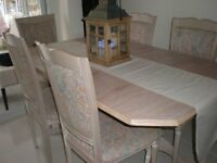 LIMED OAK EXTENDING TABLE PLUS SIX CHAIRS
