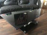 LIVING ROOM BLACK GLASS TABLE SET INCLUDES TV TABLE