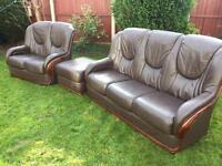 Italian leather 3 piece sofa suite by Rosini. Free immediate delivery