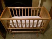 Mothercare deluxe gliding crib - natural