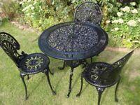 GARDEN / PATIO SET -- TABLE AND 3 CHAIRS -- CAST ALUMINIUM