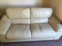 Cream leather sofa's - collection only. Good condition. Must be gone by Sunday 31st July.