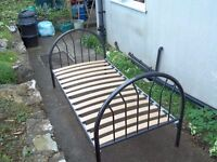 Single Bed tubed iron wooden slats in very good condition.
