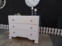 SOLID WOOD VINTAGE CHEST OF DRAWERS WITH 3 LARGE AND DEEP DRAWERS PAINTED WITH LAURA ASHLEY
