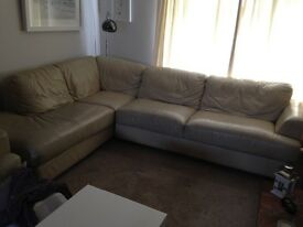 Large leather corner sofa and reclining chair