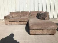 Brown jumbo cord corner sofa/couch /suite CAN DELIVER