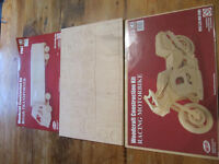 Woodcraft construction kits for lorry and motorbike,the lorry does not have the cellephane but new