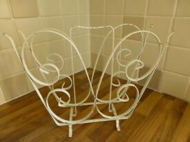Retro white metal magazine rack - butterfly shape