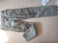 F&F 13-14 yrs Boys green canvas trousers