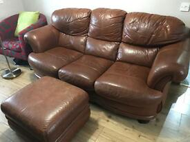 Brown 3 Seater Leather Sofa and Footstall