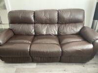 Brown Leather Recliner Set