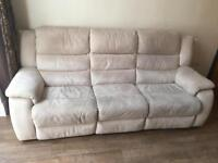 White / creme suede 2 & 3 seater electric recliner sofa with foot stool