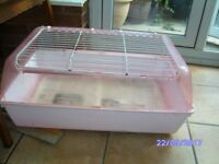 Pink Indoor Guinea Pig/Small Rabbit or Hamster Cage.