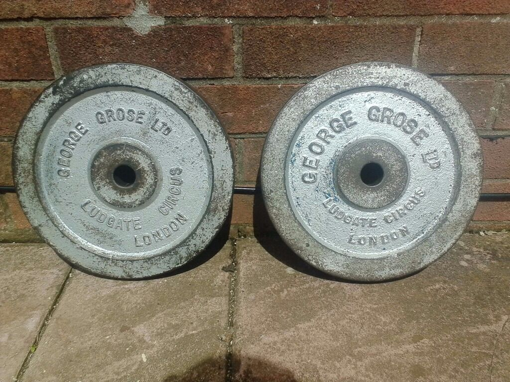 Two 20lbs George Grose Spur Barbell Weight Plates For