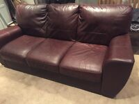 Brown 3 seater leather sofa in good condition