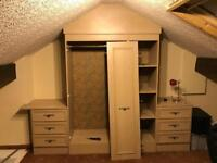 Wardrobe, shelf unit and 2 drawer units (all 3 doors present only 1 shown)