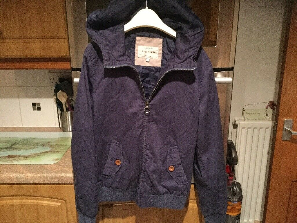 RIVER ISLAND blue coat with hood, adults size small...20 inches pit - pit. IMMACULATE.