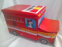 Children's storage Toy box fire engine design