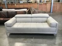 PRE OWNED Cream / White Leather Kuka 2 Seater Sofa