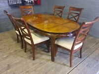 DESIGNER NEW EX DISPLAY DININING TABLE AND 6 CHAIR SET NEW NEVER BEEN USED RRP 999