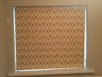 Patterned Roman Blackout Blind (ochre and white)