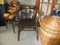 SMOKERS BOW CHAIR WELL MADE OF SOLID FRUITWOOD IS IN GOOD CONDITION STYLISH & COMFORTABLE £65