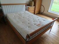 Double bed frame (wooden and metal) + free mattress