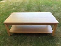 Oak effect wooden coffee table