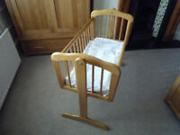 Swinging Crib / Cot and Bedding