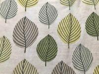 DUNELM Regan Green Leaf Cotton Lined Contemporary Readymade Curtain 135 x 83cm