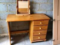 Pine desk/dressing table andmirror