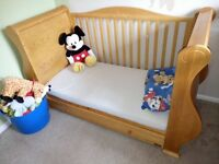 Tutti bambini Louis cot bed in Old English (solid wood) sleigh design with matching changing unit