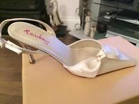 Ivory satin wedding shoes