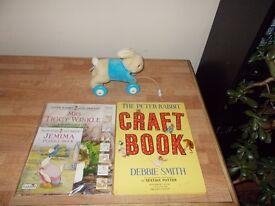PULL ALONG PETER RABBIT BEATRIX POTTER CRAFT BOOK & SEALED LADYBIRD BOOKS