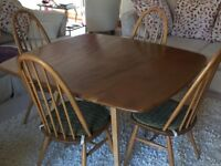 Ercol 1960's Dining Table & 4 Chairs