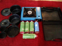 Portable stove 6 Gas with 3 different cooking pots £15