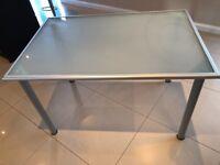 Glass topped Ikea desk - 117cm x 79cm. Excellent condition