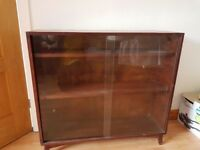 Glass front low standing bookcase