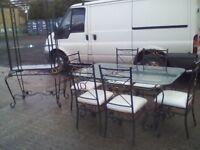 Solid metal glass top table & 6 chairs with matching display unit
