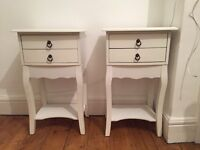 White bedside table (s) / 2 drawers good condition contemporary