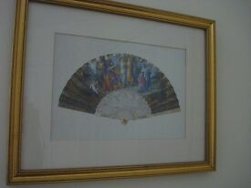 PICTURE PRINT PAST TIMES TWENTIETH CENTURY DECORATIVE FAN *very good condition* collect Chelsea SW10