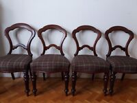 Set of 4 Victorian balloon back dining chairs