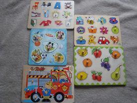 Wooden flat puzzles - 5 pieces set