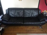 Black Leather Sofa in Great Condition