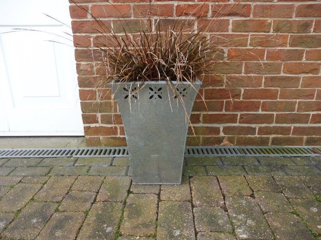 2 x Galvanised steel planters