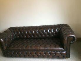 Beautiful Chesterfield Full Button Brown Leather 3 Seater Sofa