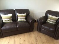 Leather settee and chair